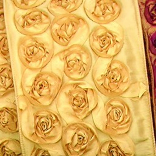 """Gold Contemporary Roses Wired Craft Ribbon 4"""" x 10 Yards - IMAGE 1"""