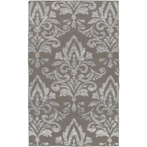 6' x 9' Extravagant Brown and Gray Hand Woven Rectangular Wool Area Throw Rug - IMAGE 1