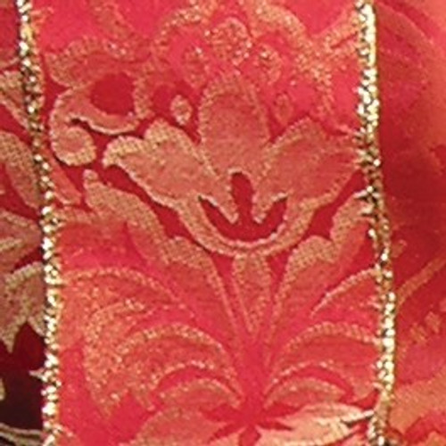 "Red and Gold Reversible Wired Edge Craft Ribbon 2"" x 20 Yards - IMAGE 1"
