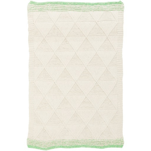 8' x 10' Beige and Lime Green Hand Woven Rectangular Area Throw Rug - IMAGE 1
