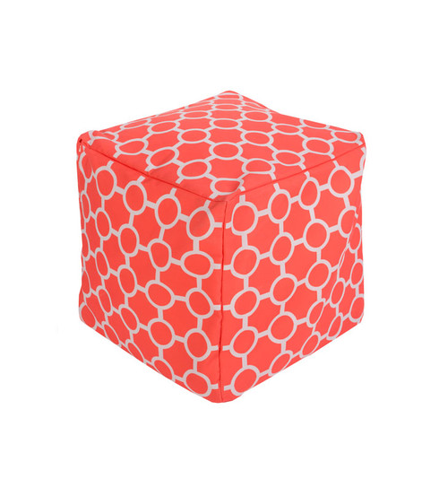 "18"" Coral Pink and Ivory Gated Spheres Square Outdoor Patio Pouf Ottoman - IMAGE 1"