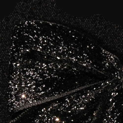 "Black Glitter Woven Edge Velvet Craft Ribbon 1.5"" x 11 Yards - IMAGE 1"