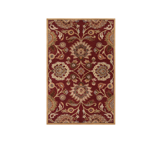 9' x 12' Floral Red and Beige Hand Tufted Rectangular Wool Area Throw Rug - IMAGE 1