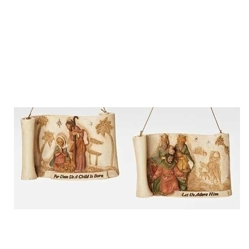 """4"""" Brown and Red Religious Christmas Nativity Ornament with Verse - IMAGE 1"""