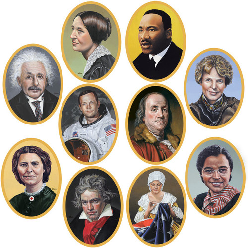 """Club Pack of 120 Black and Brown Back to School Themed Faces in History Cutout Decors 10"""" - IMAGE 1"""