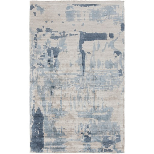 9' x 13' Blue Contemporary Hand Loomed Area Throw Rug - IMAGE 1