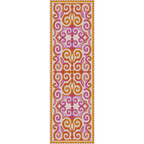 2.5' x 8' Heavenly Design Sunflower Yellow, Carnation Pink and Lavender Purple Wool Area Throw Rug Runner - IMAGE 1