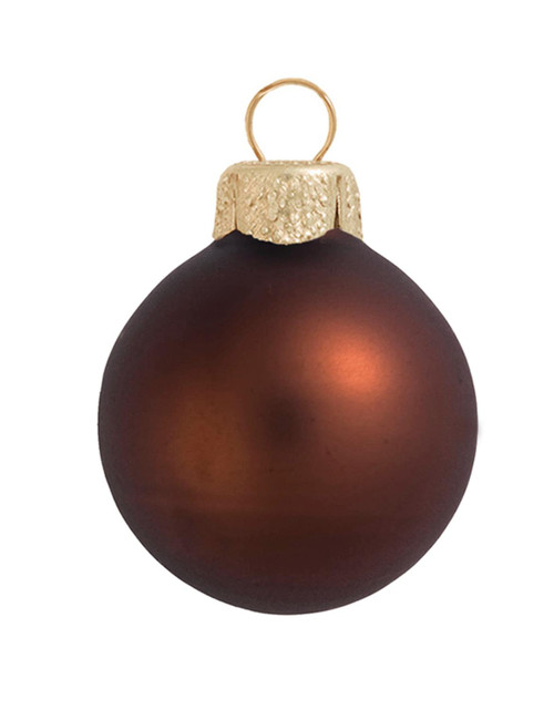 """12ct Cocoa Brown and Gold Matte Glass Christmas Ball Ornaments 2.75"""" (70mm) - IMAGE 1"""