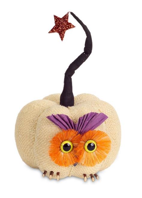 "10"" Cream and Orange Owl Pumpkin with Star Autumn Tabletop Decor - IMAGE 1"