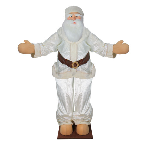 6' White and Brown Life Size Deluxe Santa Claus Christmas Figurine - IMAGE 1
