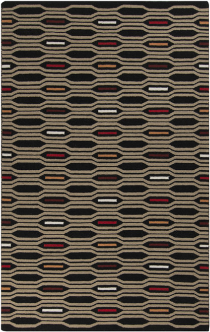 2.5' x 8' Geometric Black and Red Hand Woven Rectangular Wool Area Throw Rug Runner - IMAGE 1