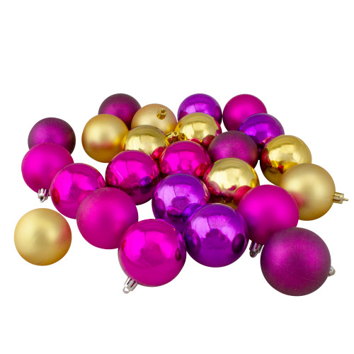 """24ct Purple and Gold Shatterproof 2-Finish Christmas Ball Ornaments 2.5"""" (60mm) - IMAGE 1"""