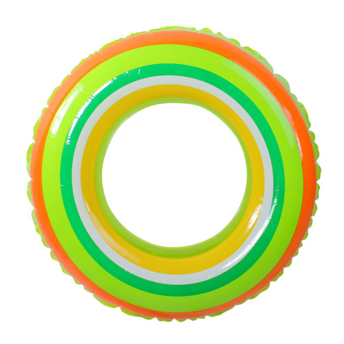 Inflatable Green and Orange Stripe Swimming Pool Inner Tube Ring Float, 35-Inch - IMAGE 1