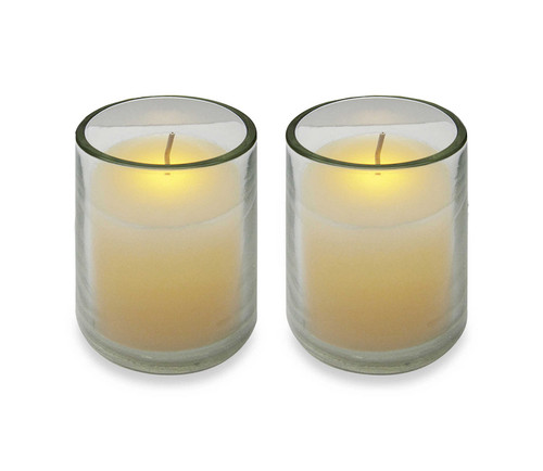 Pack of 2 Ivory Battery Operated Flameless LED Lighted Flickering Wax Votive Candles - IMAGE 1