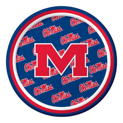 """Club Pack of 96 Red and Blue NCAA Ole Miss Rebels Disposable Party Luncheon Plates 7"""" - IMAGE 1"""