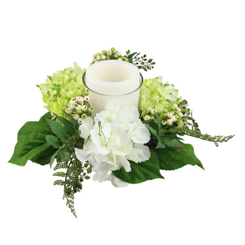 "16"" Decorative Artificial Cream White and Green Hydrangea and Berry Hurricane Glass Candle Holder - IMAGE 1"