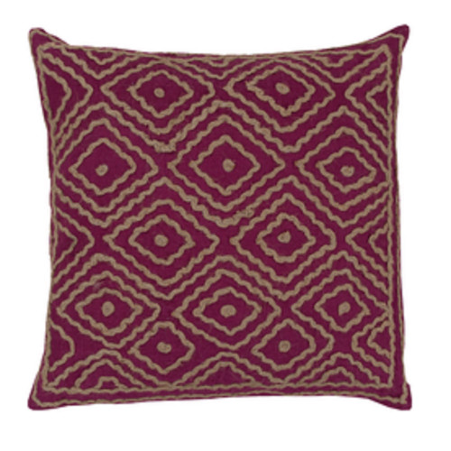 """22"""" x 22"""" Purple Pansy and Earthtone Beige Diamond Vision Decorative Throw Pillow - Poly Filled - IMAGE 1"""