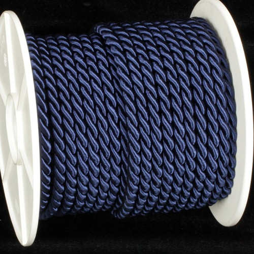 """Navy Blue Braided Cording Wired Craft Ribbon 0.25"""" x 27 Yards - IMAGE 1"""