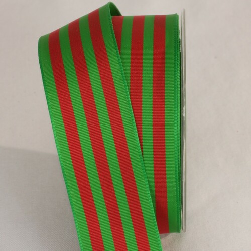 """Red and Green Striped Wired Craft Ribbon 1.5"""" x 27 Yards - IMAGE 1"""