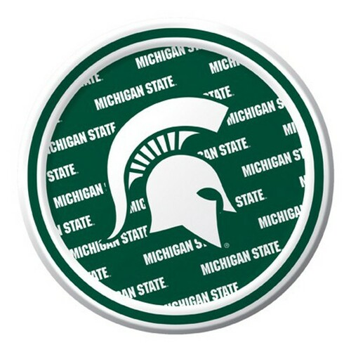 """Club Pack of 96 Green NCAA Michigan State Spartans Disposable Party Luncheon Plates 7"""" - IMAGE 1"""