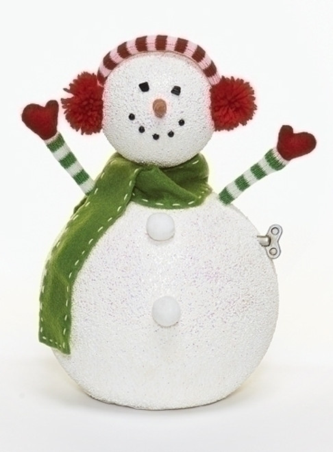 """12"""" White Animated and Musical Snowman with Earmuffs Christmas Figurine - IMAGE 1"""
