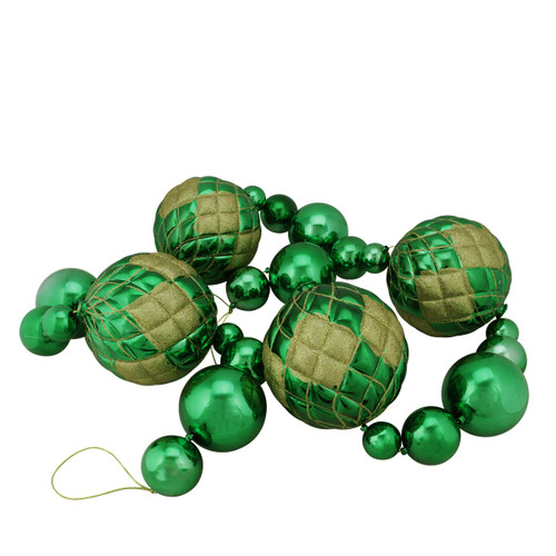 6' Shiny Green Shatterproof Christmas Ball Garland with Gold Glitter Accents - IMAGE 1