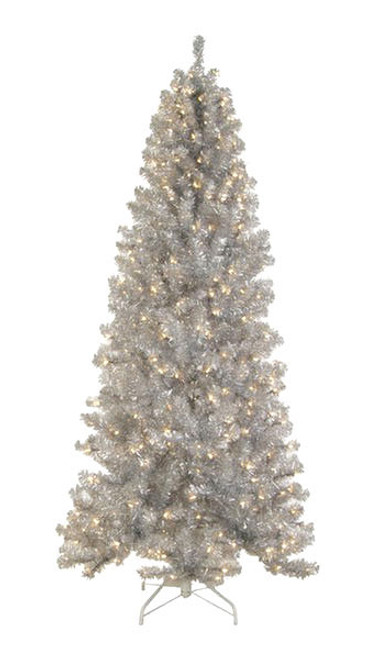 6.5' Pre-Lit Silver Tinsel Noble Pine Slim Artificial Christmas Tree - Clear Lights - IMAGE 1