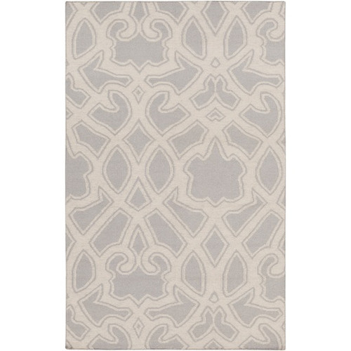 5' x 8' Contemporary Stone Gray and White Hand Woven Rectangular Wool Area Throw Rug - IMAGE 1