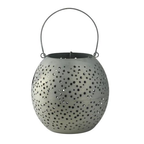 "9"" Botanic Beauty Gray Zinc Cut-Out Candle Holder Lantern - IMAGE 1"