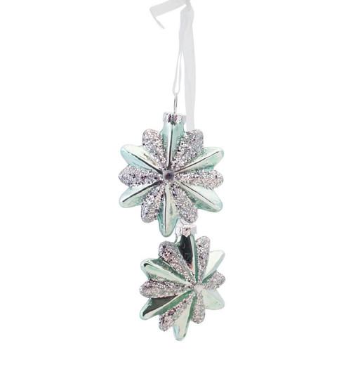 "13.25"" Silent Luxury Soft Green Glittered Glass Snowflake Bundle Drop Christmas Ornament - IMAGE 1"