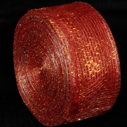 """Red and Gold Wired Sinamay Abacá Fiber Ribbon 2"""" x 64 Yards - IMAGE 1"""