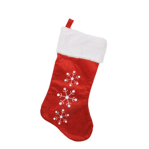 "19"" Red and White Snowflake Embroidered Christmas Stocking - IMAGE 1"