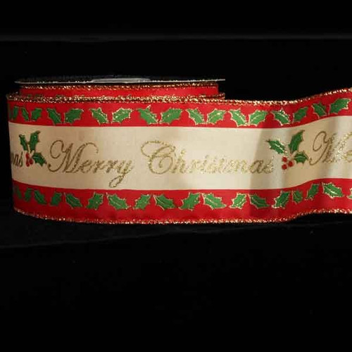 "Merry Christmas Gold Wired Craft Ribbon 2.5"" x 20 Yards - IMAGE 1"