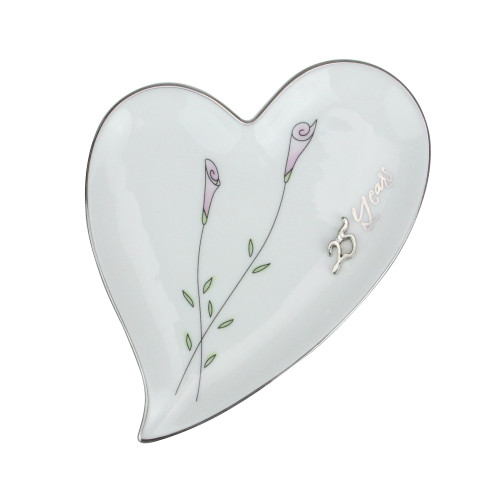 25th Silver Wedding Anniversary Heart Shaped Ring Holder #11082 - IMAGE 1