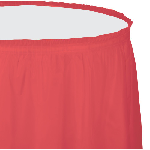 Pack of 6 Coral Pink Pleated Disposable Picnic Party Table Skirts 14' - IMAGE 1