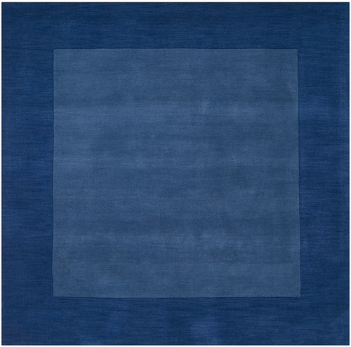 8' x 8' Solid Blue Hand Loomed Square Wool Area Throw Rug - IMAGE 1
