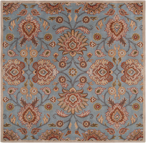 4' x 4' Octavia Gray and Brown Square Wool Area Throw Rug - IMAGE 1
