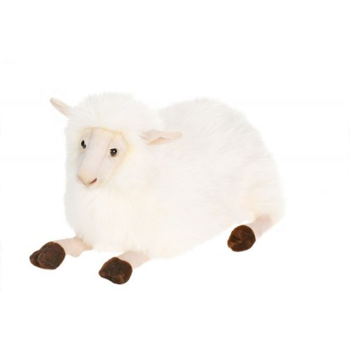 """Set of 2 White and Black Handcrafted Floppy Sheep Stuffed Animals 14.5"""" - IMAGE 1"""