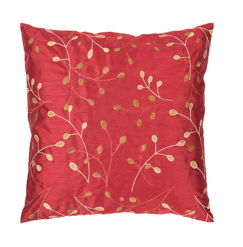 """22"""" Red and Gold Contemporary Leaf Square Throw Pillow - Down Filler - IMAGE 1"""