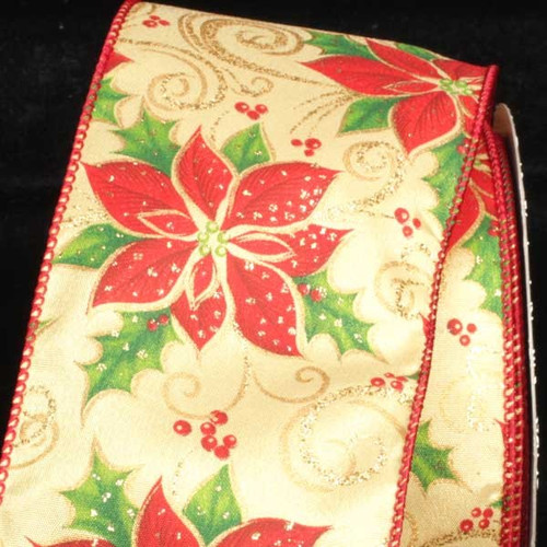 """Gold and Red Poinsettia Wired Craft Ribbon 2.5"""" x 40 Yards - IMAGE 1"""