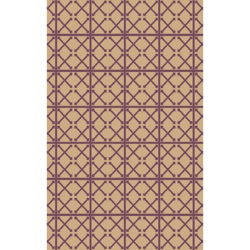 9' x 13' Yemeni Gateway Sandy Brown and Purple Area Throw Rug - IMAGE 1