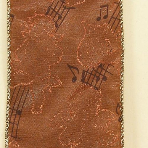 Metallic Brown Angelic Cherubs Playing Musical Notes Wired Craft Ribbon 3 x 20 Yards - IMAGE 1