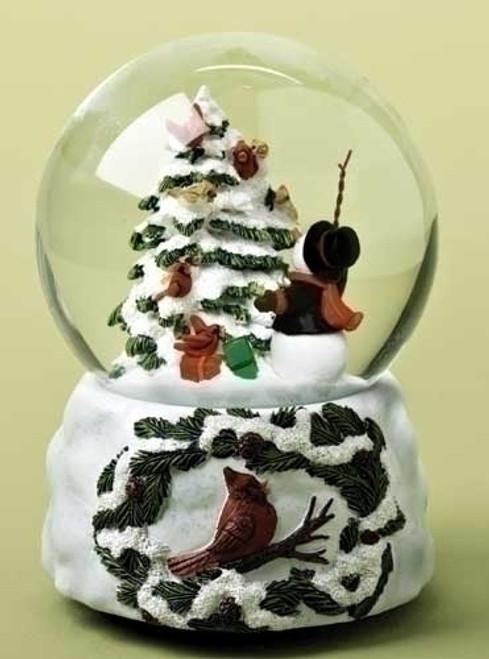 "5.5"" Musical Snowman Conducting Cardinal Bird Chorus Christmas Glitterdome - IMAGE 1"
