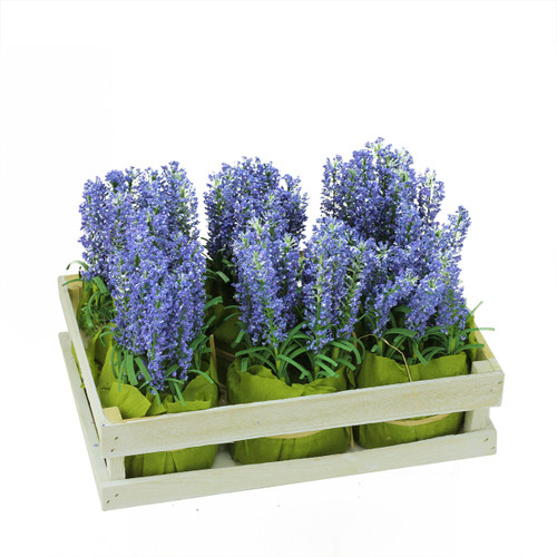 """Pack of 6 Lavender Artificial Plants in Crate Spring Tabletop Decor 9.5"""" - IMAGE 1"""