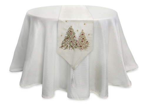 "13"" Cream White and Silver Colored Christmas Tree Embroidered Table Runner - IMAGE 1"