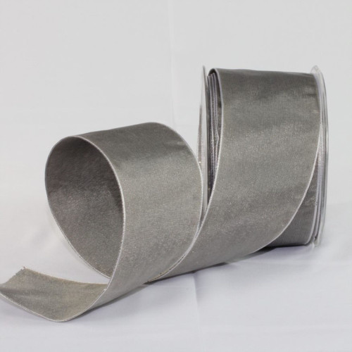 """Gray and Silver Solid Wired Craft Ribbon 2.5"""" x 27 Yards - IMAGE 1"""