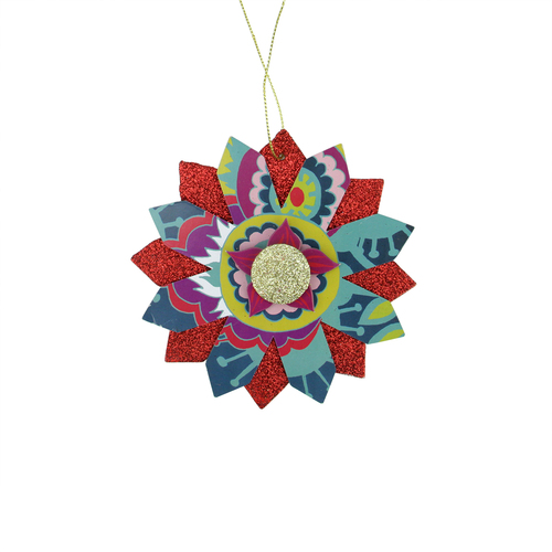 """Bohemian Holiday Colorful Floral Layered Gold and Red Glittered Snowflake Christmas Ornament 5"""" - IMAGE 1"""