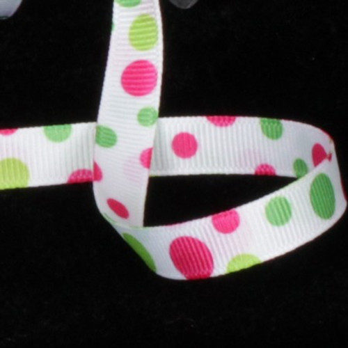 "White and Pink Polka Dots Double Sided Grosgrain Craft Ribbon 0.25"" x 110 Yards - IMAGE 1"