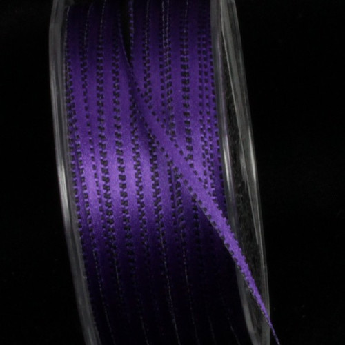 "Purple and Black Double Sided Craft Ribbon with Stitch Edge 0.25"" x 220 Yards - IMAGE 1"