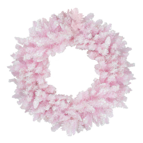 "48"" Flocked Cupcake Pink Artificial Spruce Christmas Wreath - Unlit - IMAGE 1"